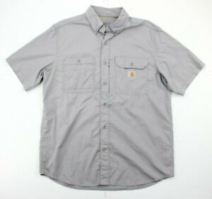 Carhartt Force Gray Short Sleeve Vented Relaxed Button Front Pocket Shirt Mens L