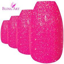 False Nails Pink GEL Ballerina Coffin Bling Art 24 Fake Acrylic Tips 2g Glue