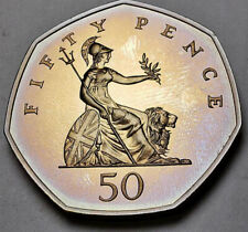 New listing 1990 Great Britain 50 New Pence Proof Purple Toned Color Unc Wonderful (Dr)