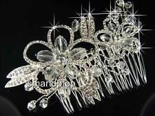 SALE Bridesmaid Prom made with  Swarovski Crystal Silver Tiara Comb TC077