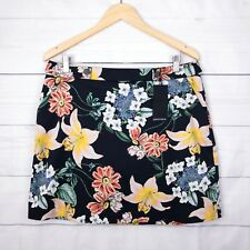 New $90 Portmans Skirt 16 Midnight Floral Stretch A-Line Pocket Black Red Party