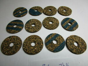 """12 Cork Rings Brown Rubberized 3/32"""" x 1-1/16"""" x 1/4"""" Bore make a tool handle"""