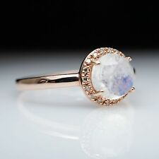 Moonstone Solitaire Fine Rings