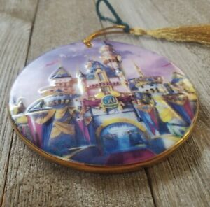Disneyland 50th Anniversary Embossed Disney Castle Ceramic Christmas Ornament