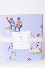 NWT Pottery Barn Kids Baseball full sheet set blue vintage