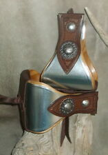 "New USA Made 5"" Wide Metal Bound Bell Stirrups + Old Silver Berry Conchos. G&E"