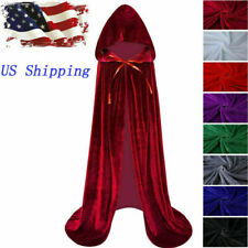 US Kids Velvet Cloak Gothic Hooded Cape Robe Halloween Medieval Witch Cosplay