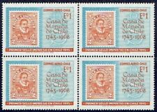 CHILE 1968 AIR MAIL STAMP # 733 MNH BLOCK OF FOUR THE MINT STAMP ON STAMP