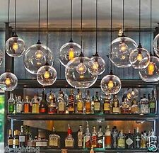 Modern Vintage Pendant Ceiling Light Glass Globe Lampshade Fitting Cafe 4 Color Clear 60w Filament Bulb