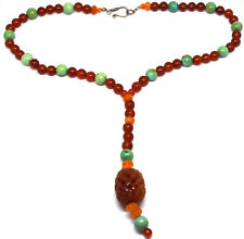 Antique Chinese Carnelian and Turquoise Beads Necklace
