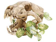 Skull with Silk Plant Reptile Terrarium Vivarium Ornament Decoration