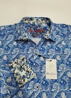 Robert Graham Men's L Blue White Paisley Print Long Sleeve Flip Cuff Shirt NWT