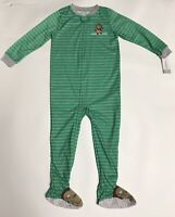 BRAND NEW Carter's Toddler Boys 1-Piece Footed Green Monkey Fall Pajamas, 5T / 5