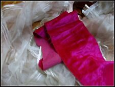 BEAUTIFUL ANTIQUE FRENCH LATE TEEN RICH FUCHSIA PINK FINE PILE SILK VELVET TRIM