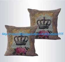 US SELLER-set of 2 covers for pillows on shabby chic crown rose cushion cover