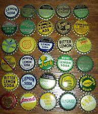 Lot of 30 different Vintage Lemon Unused Soda Pop Bottle Caps Lime Champ Jurk