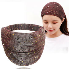 Elastic Women Anti Slip Headband Sequin Lace Wide Edge Hair Headwrap Accessories