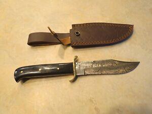 Large Damascus Bowie knife black Micarta handles brass hilt, leather sheath