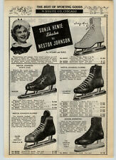 1939 PAPER AD Sonja Henie Nestor Johnson Ice Skates Racing Sonora Table Radios