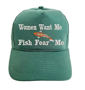 Women Want Me Fish Fear Me Embroidered Baseball Cap Hat in 15 Colours