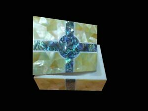 4x3 Inches Marble Decorative Box Precious Stone Jewelry Box with Random Work