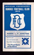 Dundee FC v St Johnstone Football Programme February 27 1971