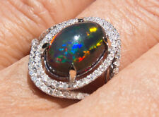 Solid 14K WG Stunning Top Notch Genuine True Black Opal and Diamond Ring