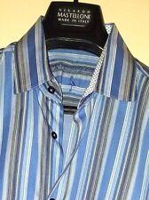 Tailorbyrd Blue/Gray Multi-Color Detailed Stripe LS Shaped Fit Shirt Sz. M
