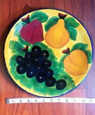 Talavera Mexico R Venegas Mexican Pottery Large Dinner Chop Plate Colorful Fruit