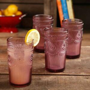 The Pioneer Woman Adeline 16-Ounce Emboss Glass Tumblers, Set of 4, Plum