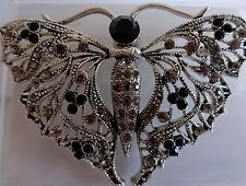Art Deco style  black & lilac diamante butterfly brooch-Aussie seller Brand new