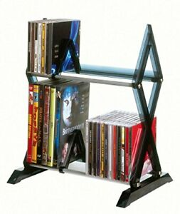 Atlantic Mitsu 2-Tier Media Rack - 52 CDs or 36 DVD/BluRay/Games in Clear Smoke