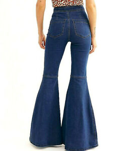 Free People Know Me Better Extreme Flare High Rise Jeans in Indigo Blue 30 NWT