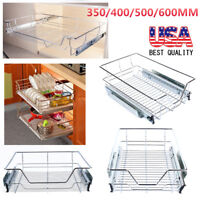 Kitchen Pull-Out Wire Sliding Basket Rack Cabinet Storage Organizer Drawer Shelf