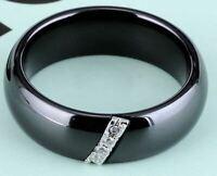 Mode Schmuck Frauen Ring Mit 4 Kristall Keramik Schwarz 6 mm Breit  (22)