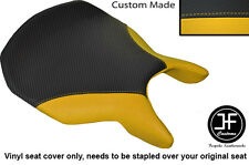 CARBON FIBRE AND YELLOW VINYL CUSTOM FITS DUCATI 999 749 FRONT SEAT COVER ONLY