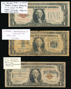^^UNUSUAL^^ 3 SHORT SNORTERS 1928 1934 & 1935 $1 NOTES (SEE PICTURES !!) NO RSRV