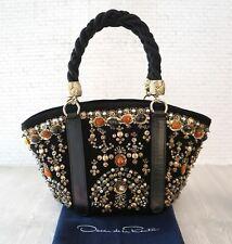 OSCAR DE LA RENTA Embellished Black Suede Braided Handle Tote Evening Bag NEW