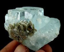 79 Gram Step Growth Terminated Aquamarine Crystal Cluster with Mica from Nagar