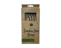 REUSABLE STAINLESS STEEL BENT STRAWS 4 PK WITH BRUSH CLEANER DRINKS