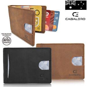 Cabaleiro Mens Slim Brown Leather Bifold Credit Card Wallet With RFID Blocking