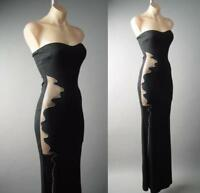 Black Strapless Sheer Illusion Mermaid Formal Evening Gown 236 mv Dress S M L