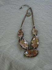 BNWOT EAST  necklace made of 5 large flat oval beads, browns & gold pattern
