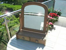 PINE SWIVEL DRESSING TABLE MIRROR 2 DRAWERS.