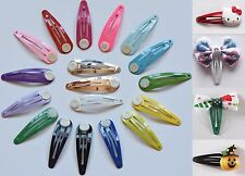 50mm Glue on Metal Painted Colour Blank DIY Hair Snaps Clips with Pad Craft Bow
