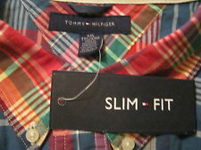 $69 TOMMY HILFIGER Slim Fit,XXL/2XL,Mens Button-Up Shirt,Plaid,Office,School,NEW