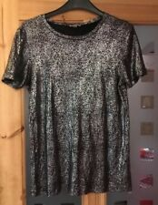 Ladies Size 6 Silver Sparkly River Island Top Vgc Party
