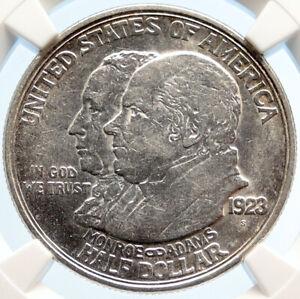 1923 S USA Los Angeles JAMES MONROE QUINCY ADAMS Silver Half $ Coin NGC i95546