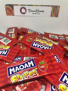 100 x HARIBO MAOAM STRIPES STRAWBERRY FLAVOUR FRUIT CHEWS SWEETS KIDS PARTY