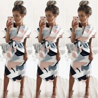 Women's Boho Floral Short Sleeve Sundress Midi Summer Beach Party Holiday Dress